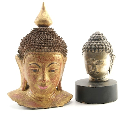 Buddha Head Composite Sculptures, Late 20th Century