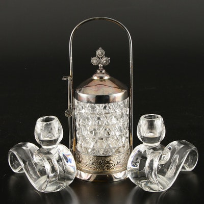 Silver Plate Lidded Ice Bucket with Tongs and Crystal Candle Holders