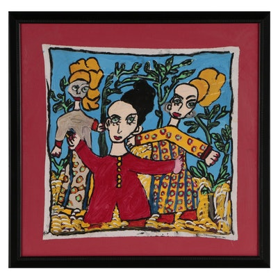 Folk Art Acrylic Painting of Three Women
