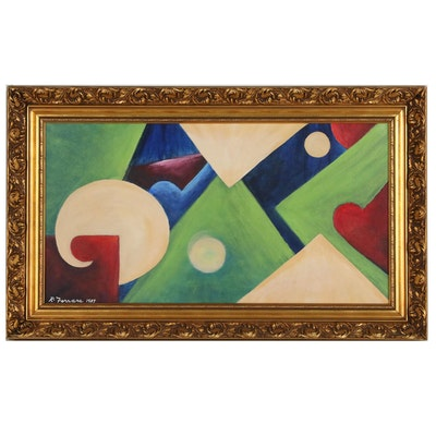 Ronald A. Ferrara Abstract Oil Painting, 1987