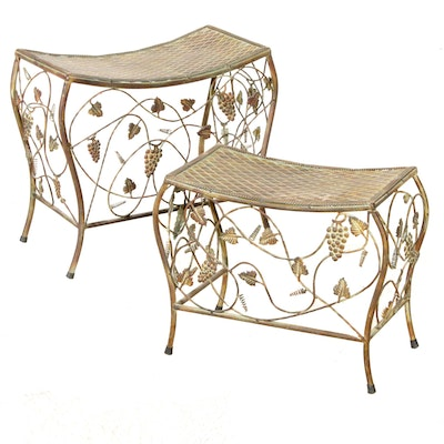 Decorative Bronze Tone Metal Nesting Tables with Grape Leaf Accents