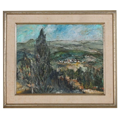 Bertha Davis Landscape Oil Painting over Offset Lithograph Template, 1960