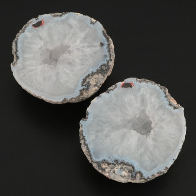 Coarse Crystalline Quartz Geode Halves with Cryptocrystalline Outer Banding