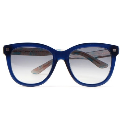 ETRO ET622S Blue Horn-Rimmed Sunglasses with Case and Box