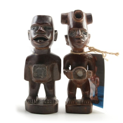 African Bakongo Carved Wood Nkisi Figures, Mid to Late 20th Century