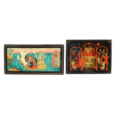 """Soviet Russian Lacquered Papier-Mâché """"Wedding Party"""" and Ship Boxes"""