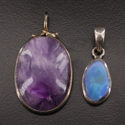 Sterling Silver Opal Doublet Pendant with Amethyst Pendant