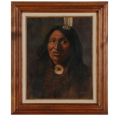 Roger Lundskow Native American Portrait Oil Painting, Late 20th Century
