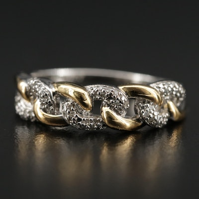 Sterling Silver Diamond Curb Link Ring
