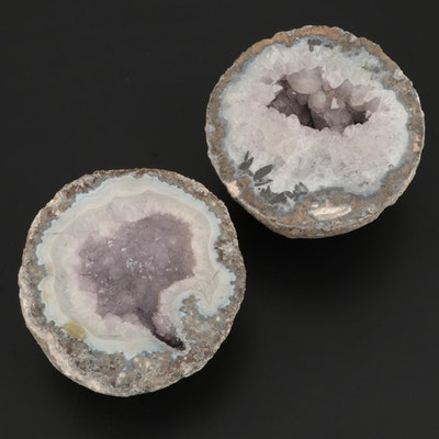 Pair of Coarse Crystalline Amethyst Geodes with Cryptocrystalline Outer Bands
