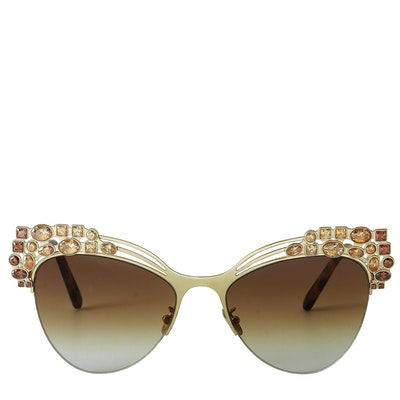 Philipp Plein Crystal Gold/Brown Sunglasses