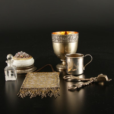 Beaded Purse, Silver Plate Baby Cup, Perfume Bottle and Other Vanity Items