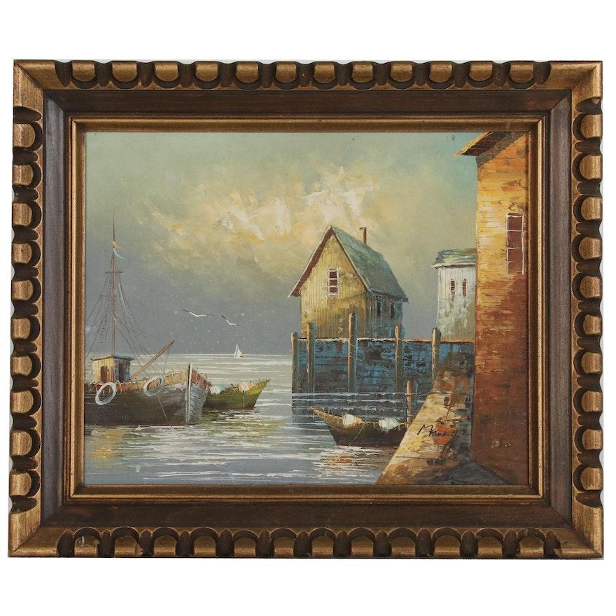 Nautical Sunset Landscape Painting, Late 20th Century