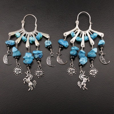 Sterling Silver Imitation Turquoise Drop Earrings with Celestial Motif