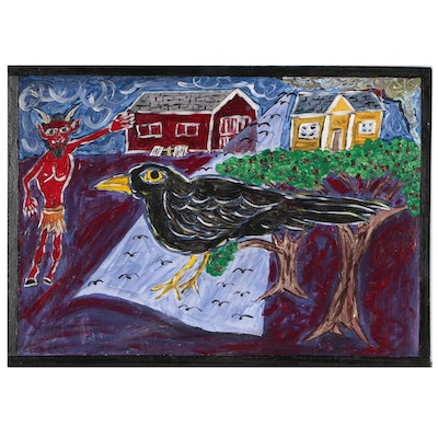 S. Evets Folk Art Oil Painting of Devil and Raven
