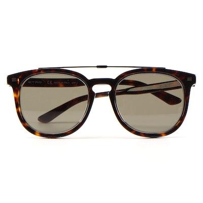 ETRO ET641S Dark Havana Horn-Rimmed Sunglasses with Case and Box