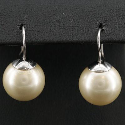 Sterling Silver Faux Pearl Drop Earrings
