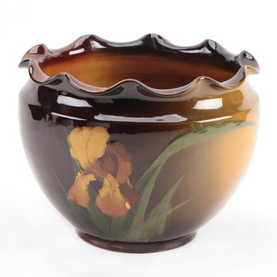Weller Louwelsa Hand-Painted Floral Planter Vase or Jardiniere, 1896–1924