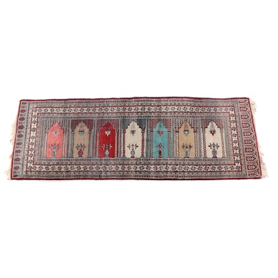 3'2 x 9'2 Hand-Knotted Persian Saph Wool Prayer Rug