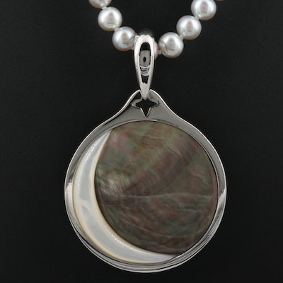 Honora Sterling Silver Cultured Pearl Necklace with Mother of Pearl Pendant