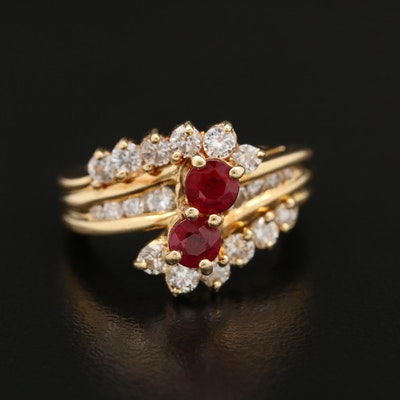 18K Ruby and Diamond Bypass Style Ring