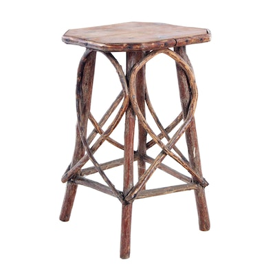 Old Hickory Style End Table, Early to Mid 20th Century