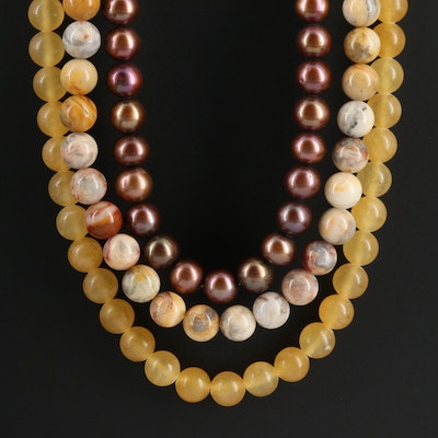 Triple Strand Beaded Gemstone Necklace With Sterling Silver Clasp
