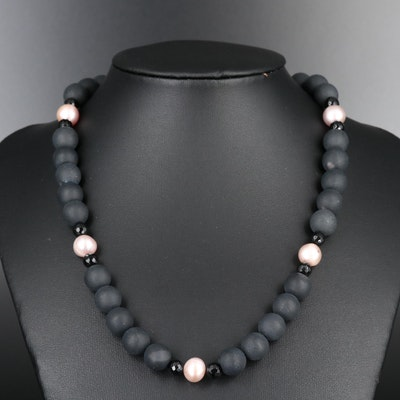 Black Onyx Beaded Necklace with Sterling Clasp and Pearl Spacers