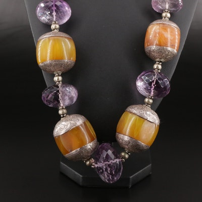Vintage Sterling Silver Beaded Amethyst and Amber Necklace
