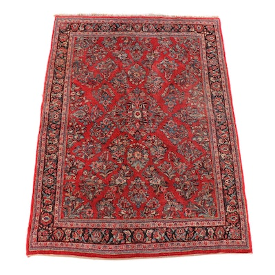 6'2 x 9'2 Hand-Knotted Persian Yazd Wool Rug