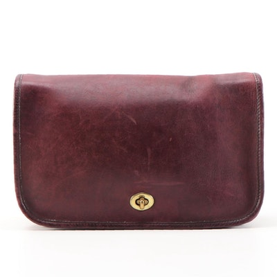Coach Convertible Shoulder Bag Clutch in Burgundy Glove-Tanned Leather, 1970s