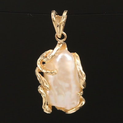 14K Cultured Pearl Textured Pendant