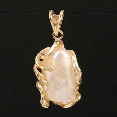 14K Baroque Pearl Textured Pendant