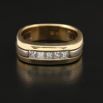 18K Diamond Square Band with Euro Shank