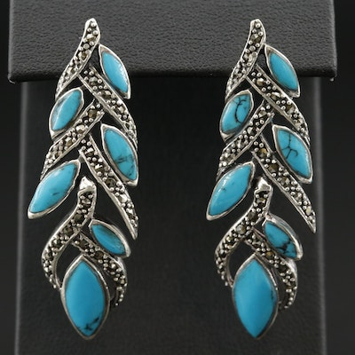 Sterling Silver Faux Turquoise and Marcasite Earrings