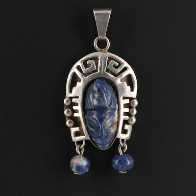 Mexican Sterling Silver and Sodalite Pendant