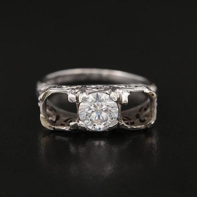 Vintage 18K Cubic Zirconia Semi-Mount Ring