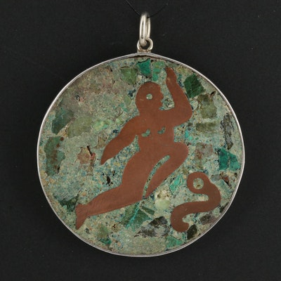 Mexican Sterling Silver Turquoise Pendant with Figural Inlay