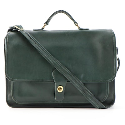 Coach Metropolitan Briefcase Messenger Bag in Green Glove-Tanned Leather