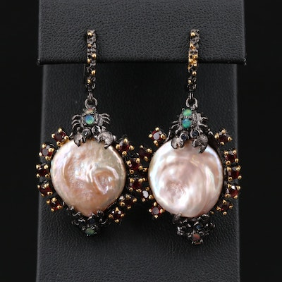 Sterling Silver Cultured Pearl, Garnet, and Opal Earrings Featuring Crab Motif