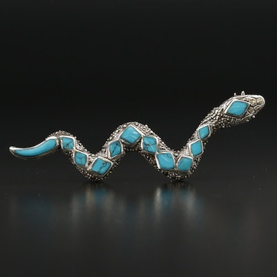 Sterling Silver Turquoise and Marcasite Snake Brooch