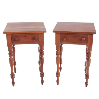 Pair of McMahan Furniture Co. American Primitive Cherrywood Side Tables