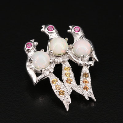 Sterling Silver Opal, Rhodolite Garnet and Sapphire Bird Brooch