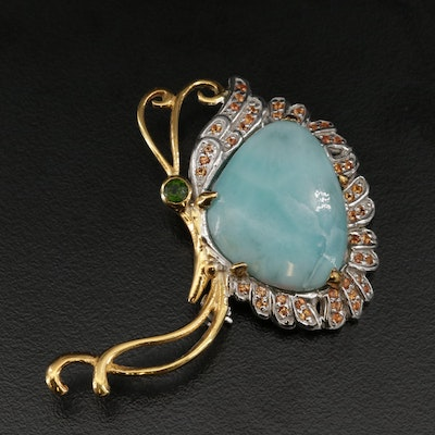 Sterling Silver Larimar, Fancy Sapphire, and Diopside Brooch