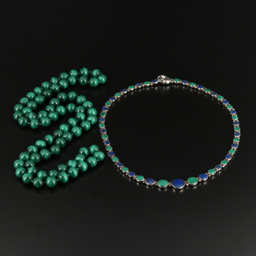 Sterling Silver Lapis Lazuli Necklace With Beaded Malachite Necklace
