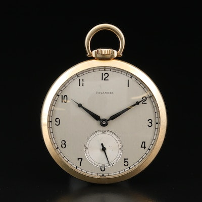 Tavannes 14K Gold Open Face Pocket Watch