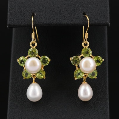 Sterling Silver Peridot and Cultured Pearl Dangle Earrings