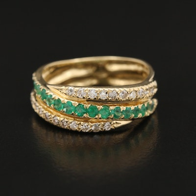 18K Emerald and Diamond Crossover Band