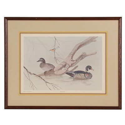 "Offset Lithograph After John Ruthven ""Wood Ducks"""
