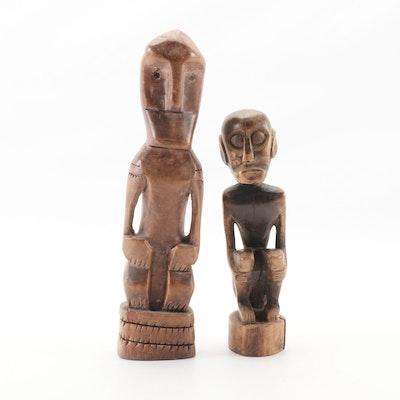 Indonesian Borneo Hand Carved Wooden Figure Sculptures